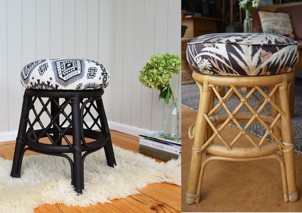 Before & After - How to reupholster a stool
