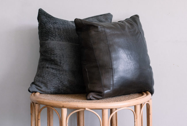 No zip leather cushion